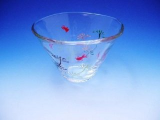 京絵付け手描きガラス金魚絵小鉢