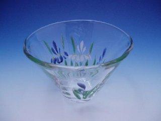 京絵付け手描きガラス花菖蒲絵小鉢