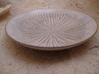粉引ソギ彫皿