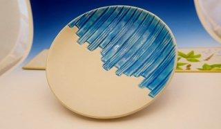 浅黄白マット線彫5寸皿
