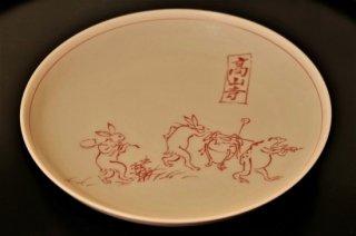 赤絵鳥獣戯画壺かき取り皿