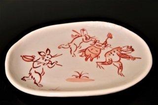 手描き赤絵鳥獣戯画壺かき小判皿