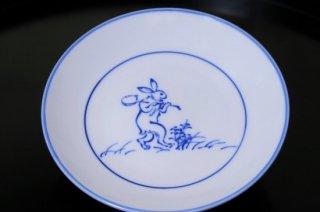 染付鳥獣戯画柄杓ウサギ4寸皿