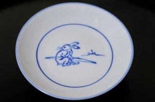 染付鳥獣戯画座っているウサギ4寸皿