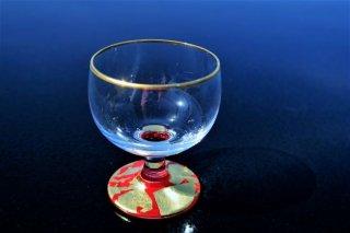 ガラス金箔赤高台杯