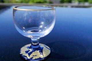 ガラス金箔青高台杯