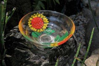 京絵付け手描きガラスひまわり抹茶碗