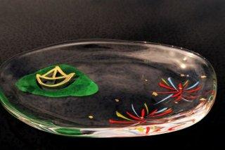 ガラス五山の送り火皿(舟形)