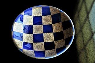 銀紺市松6寸皿