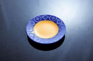 瑠璃黄七宝繋ぎ6寸皿