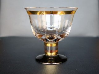 ガラス金彩黒足高台鉢