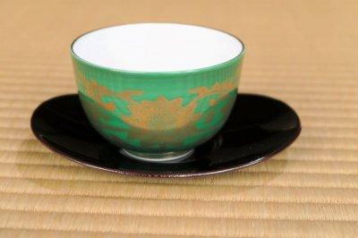 緑金襴手汲出碗
