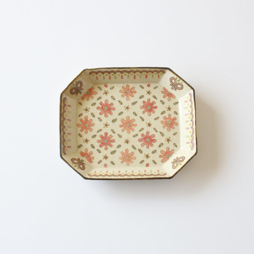 増山文 赤花の八角皿