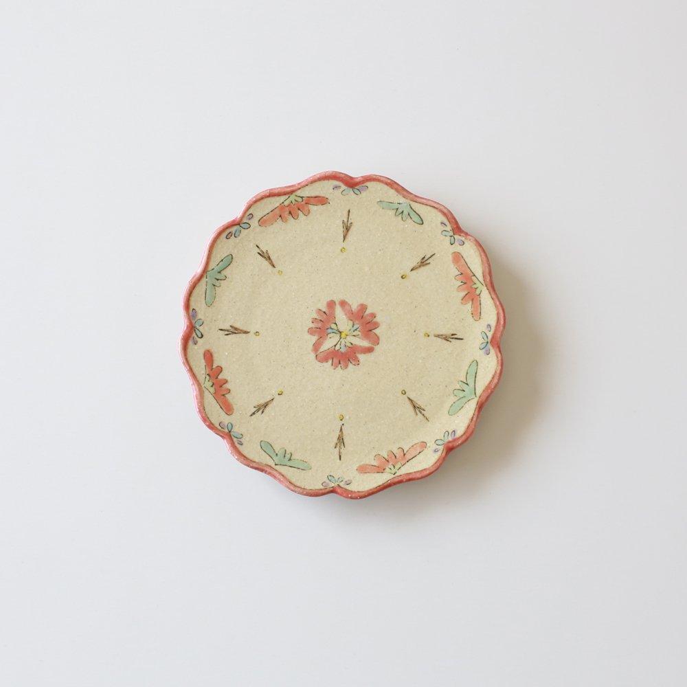 増山文 赤花の5寸皿