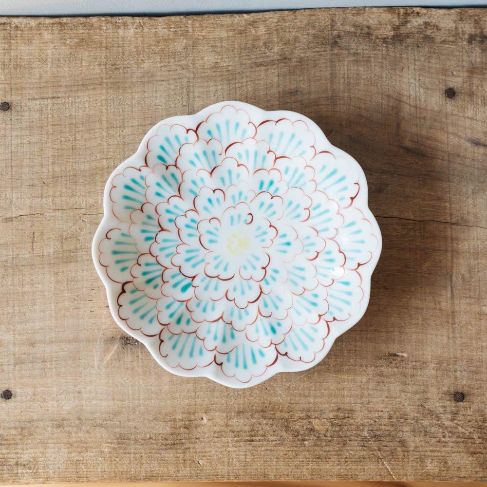 赤地径 牡丹文輪花皿