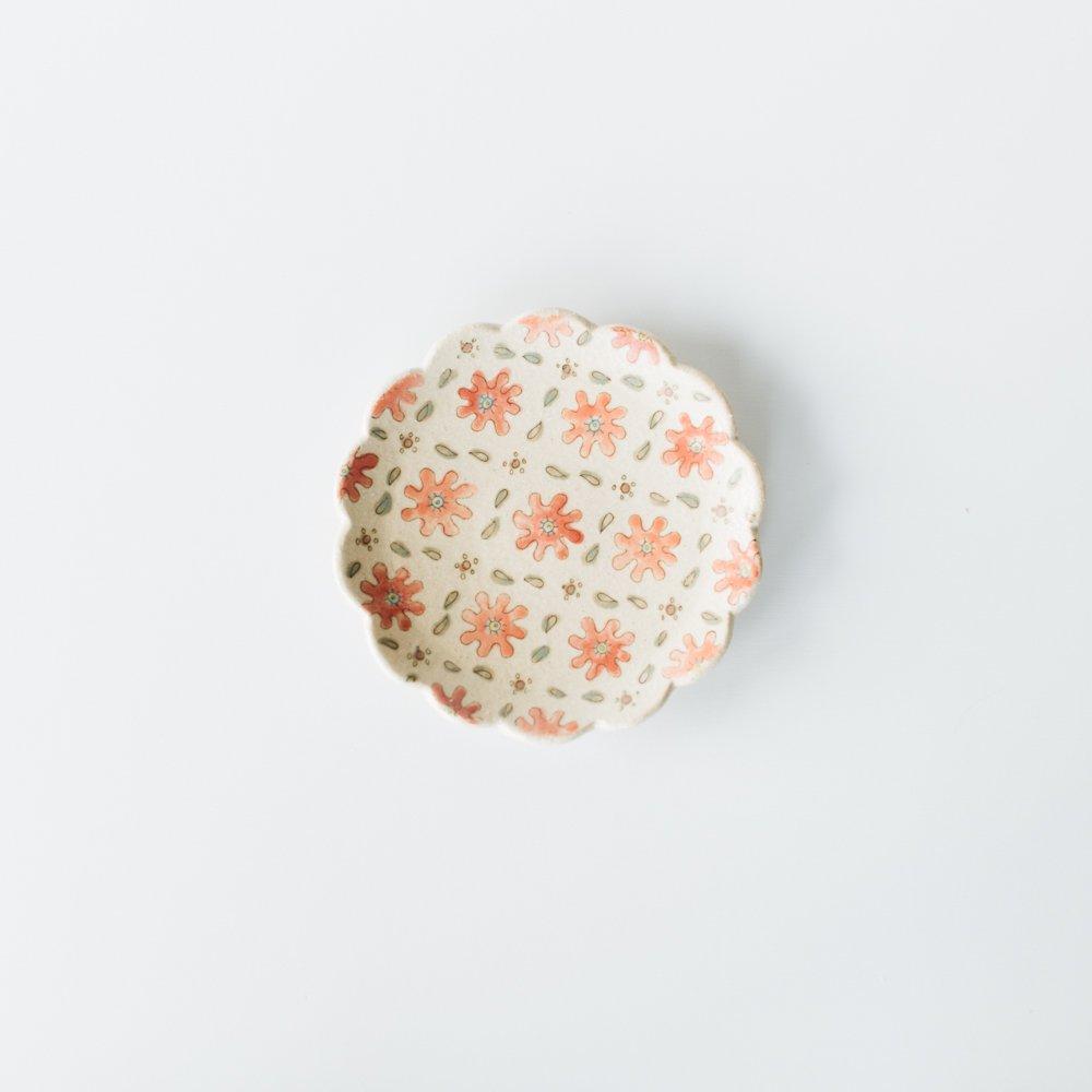増山文 輪花絵皿5寸