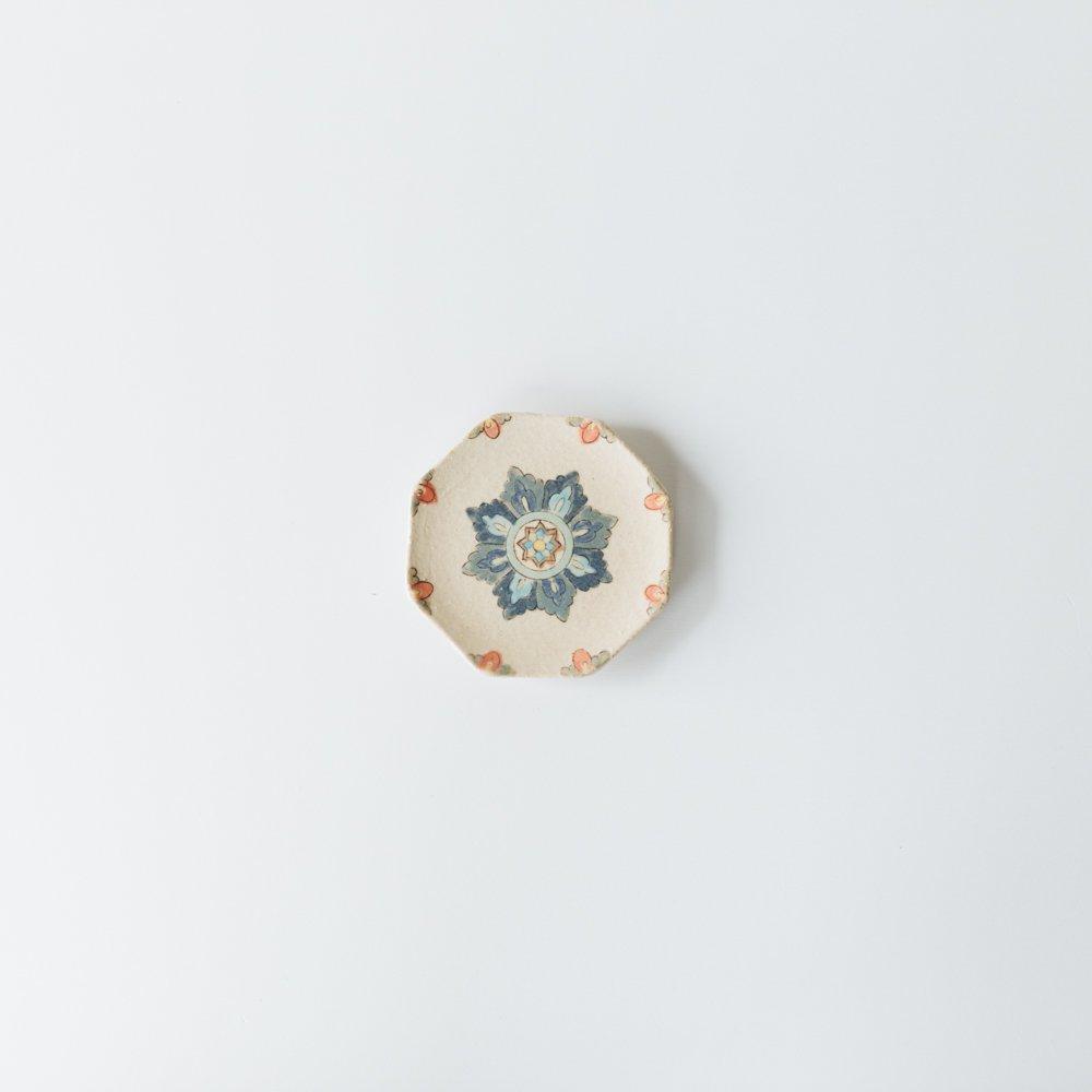 増山文 八角豆皿(青花)