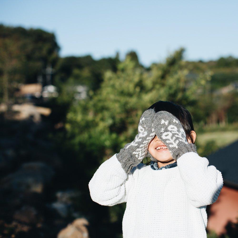 noir lapin 木と鳥のミトン (ライトグレー) 3