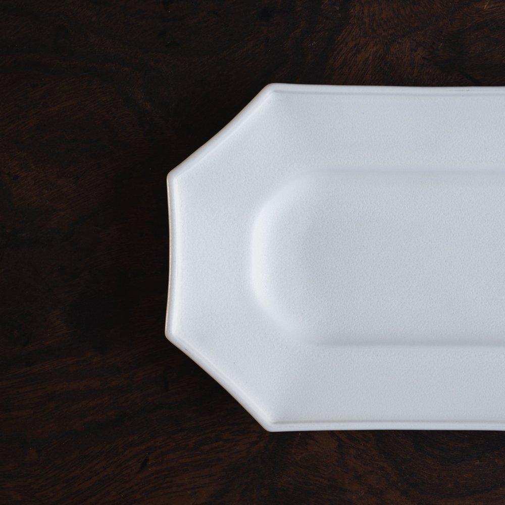(2021年10月) かもめ製作所 オクトゴナル長皿 (白マット釉)