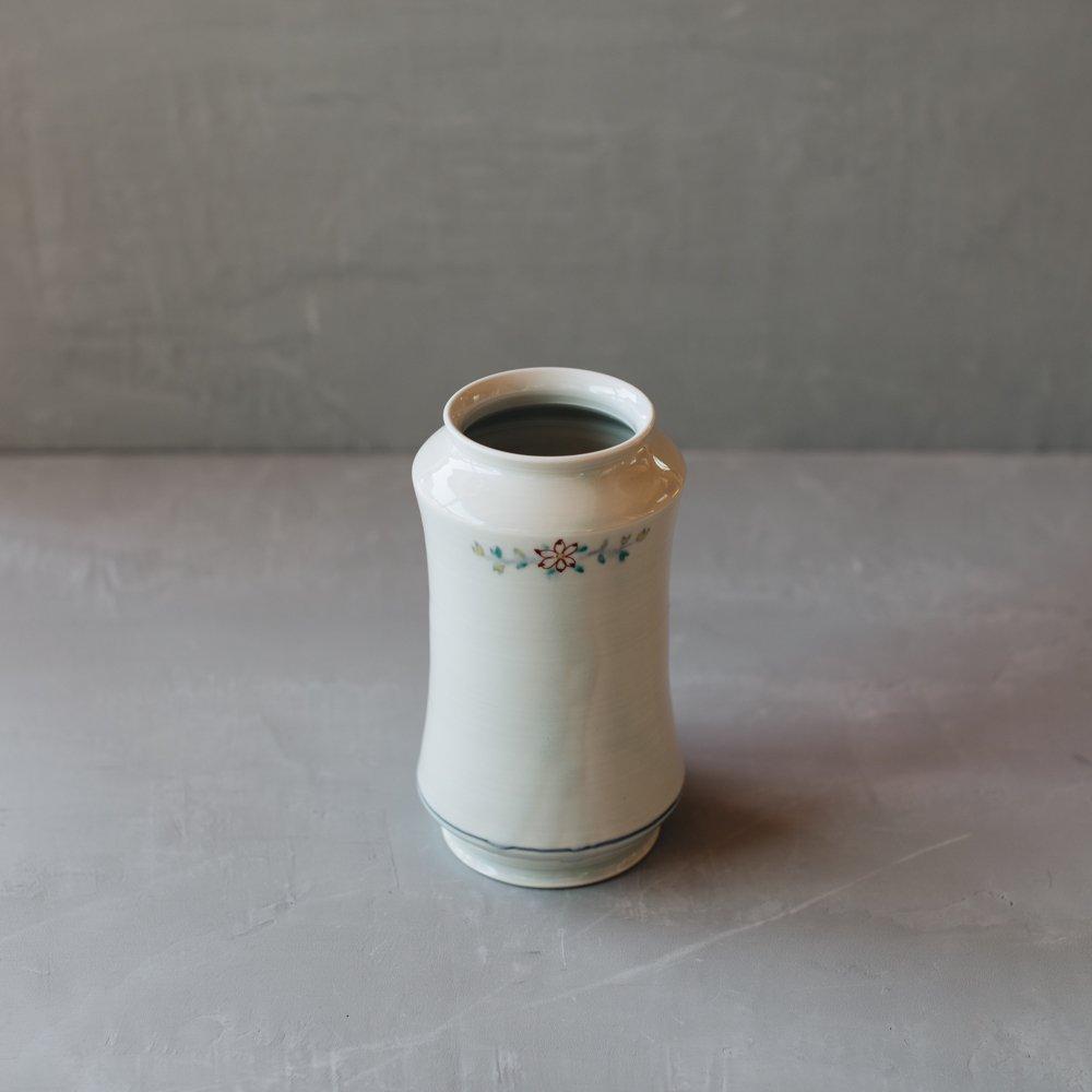 志村和晃 色絵染付筒花瓶 13