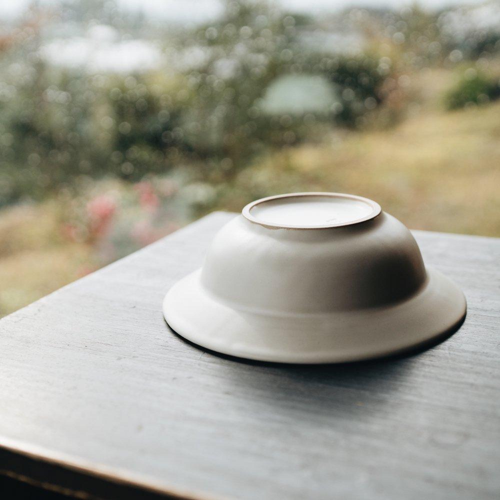 吉田健宗 白釉 6寸リム鉢 2