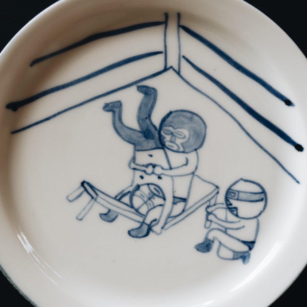 高橋直樹 プロレス皿 『机の上にパイルドライバー』20