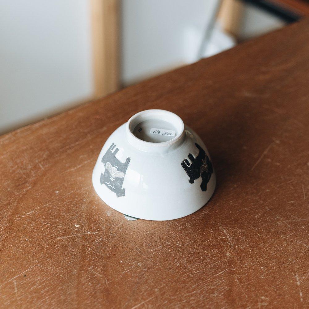 宮崎孝彦 お子様茶碗(黒パグ) 21
