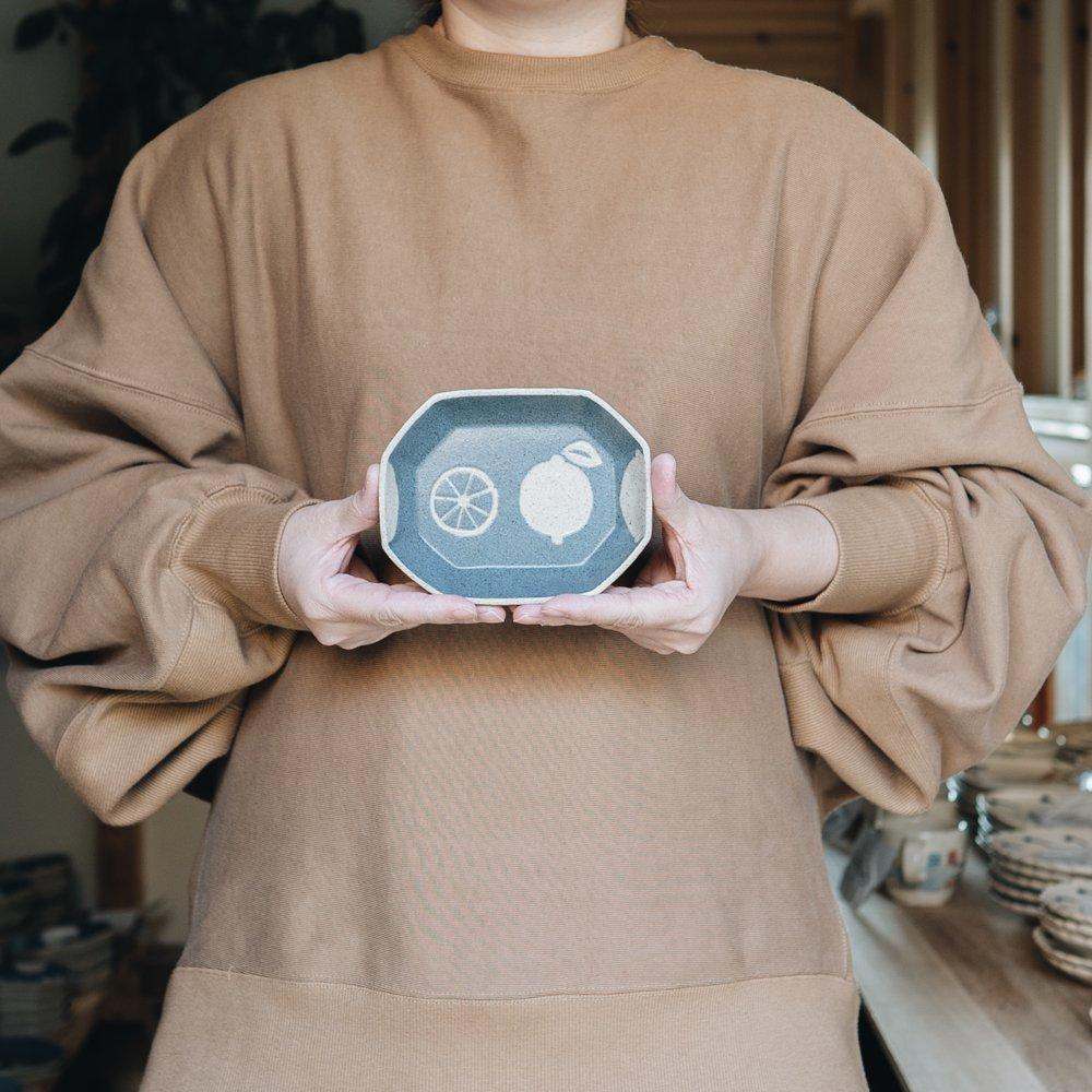 苔色工房 長八角小鉢(2020年3月企画展) 24a