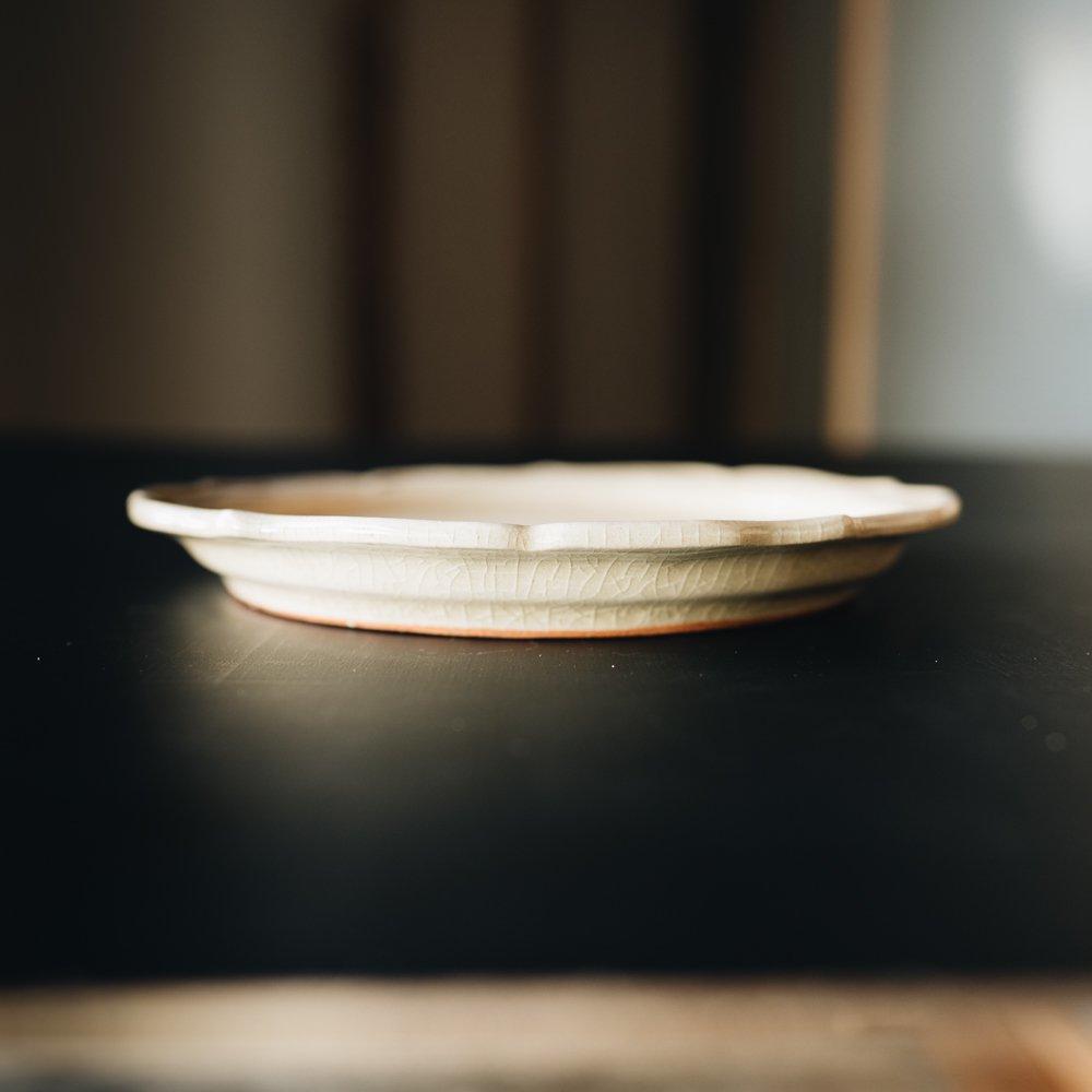 渡辺信史 灰釉芙蓉五角皿 2