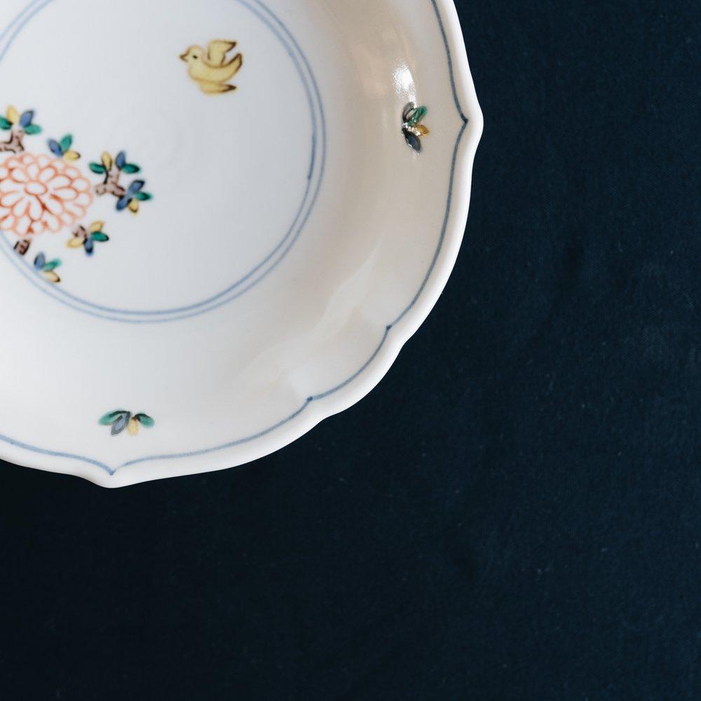 中町いずみ 輪花皿 色絵花鳥 (2020年11月) N2