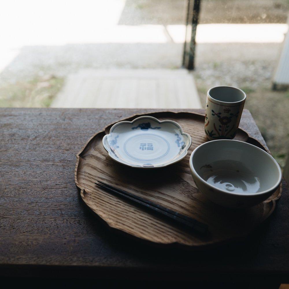 中町いずみ 染付輪花吉祥皿 福 (2020年11月) N4