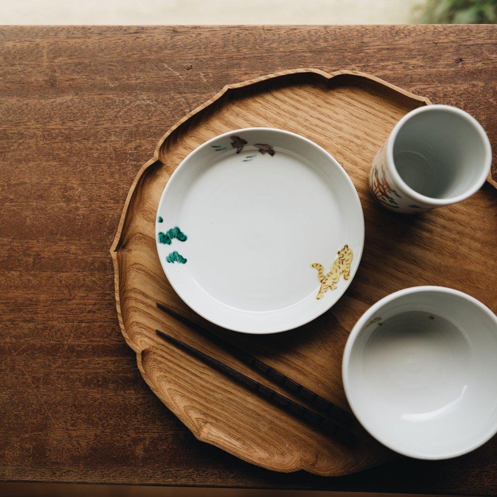 中町いずみ 5.5寸リム皿 松と虎 (2020年11月) N13
