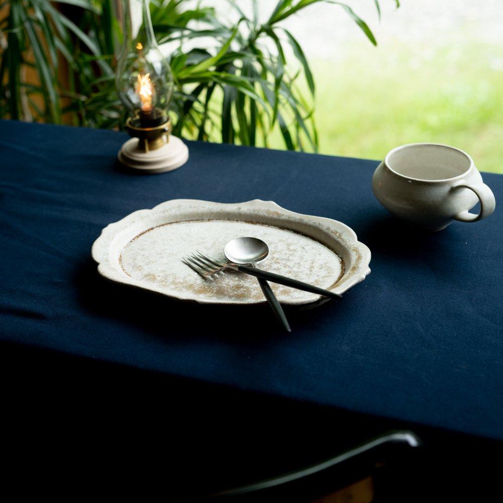 【2021年WEB個展】 広瀬佳子 洋皿L  (白茶)  (ひ1c)