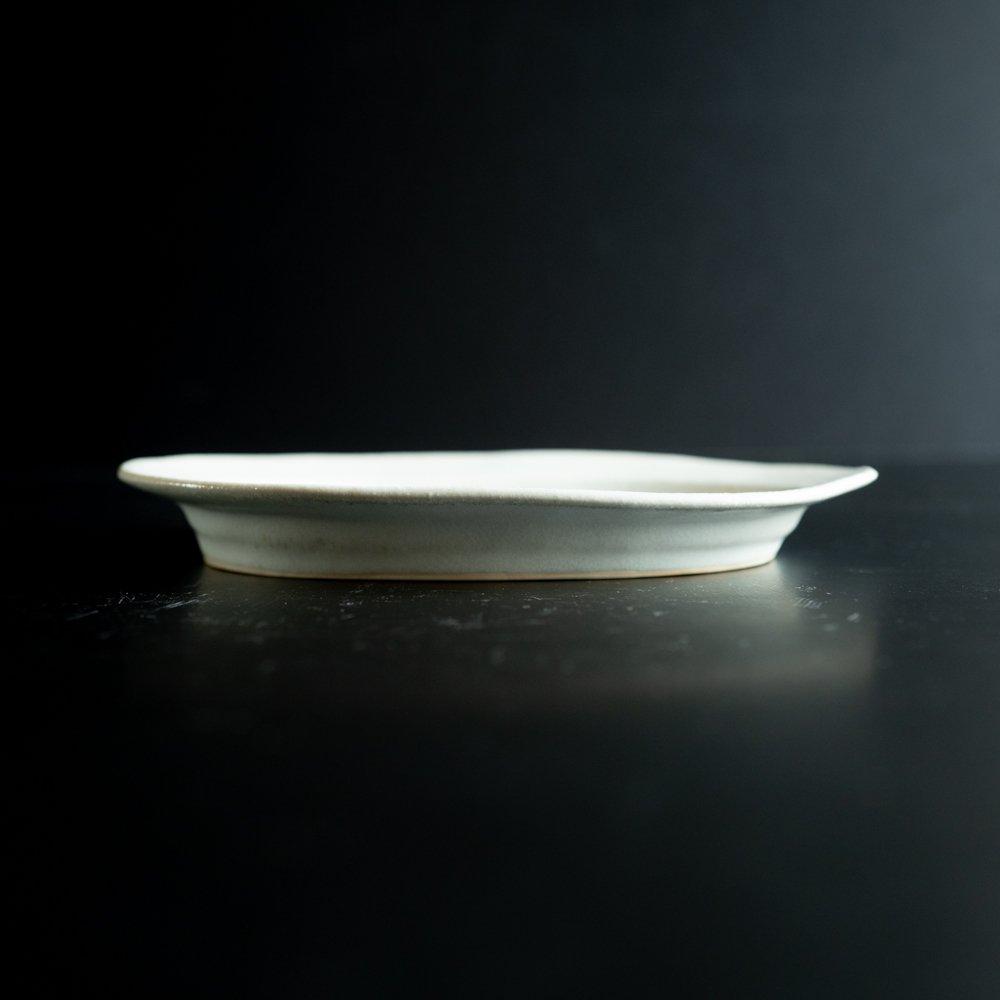 【2021年WEB個展】 広瀬佳子 オーバルプレート  (氷緑)  (ひ2b)