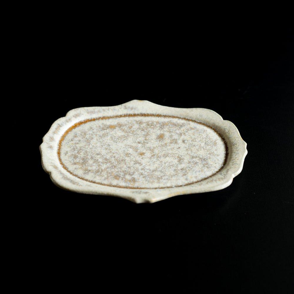 【2021年WEB個展】 広瀬佳子 洋皿M  (白茶)  (ひ3c)