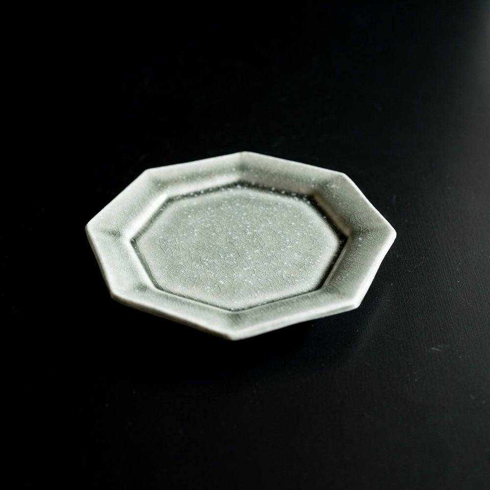 【2021年WEB個展】 広瀬佳子 八角皿  (霜降りグレー)  (ひ4a)