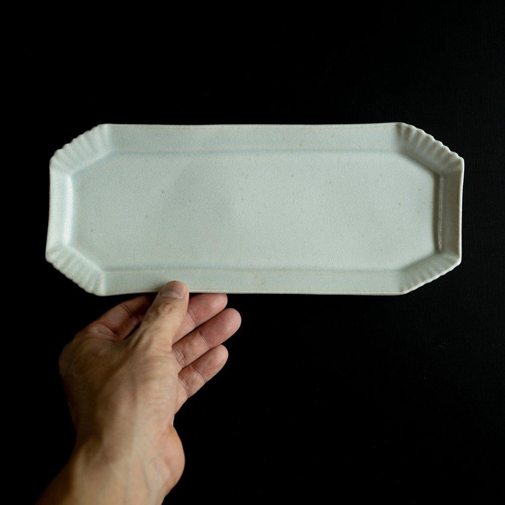 【2021年WEB個展】 広瀬佳子 八角BBロングプレート  (氷緑)  (ひ5c)