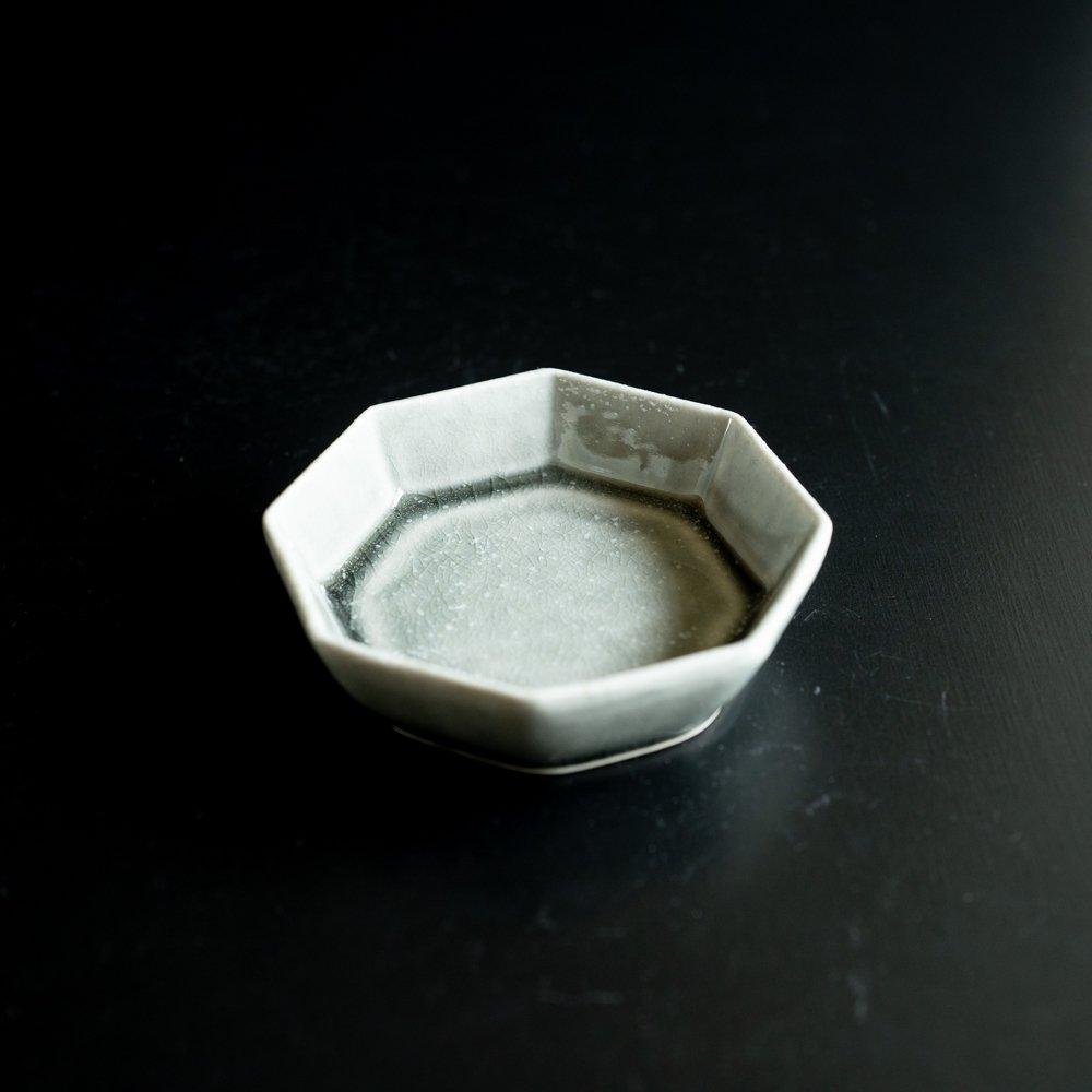 【2021年WEB個展】 広瀬佳子 八角小皿  (霜降りグレー)  (ひ11a)