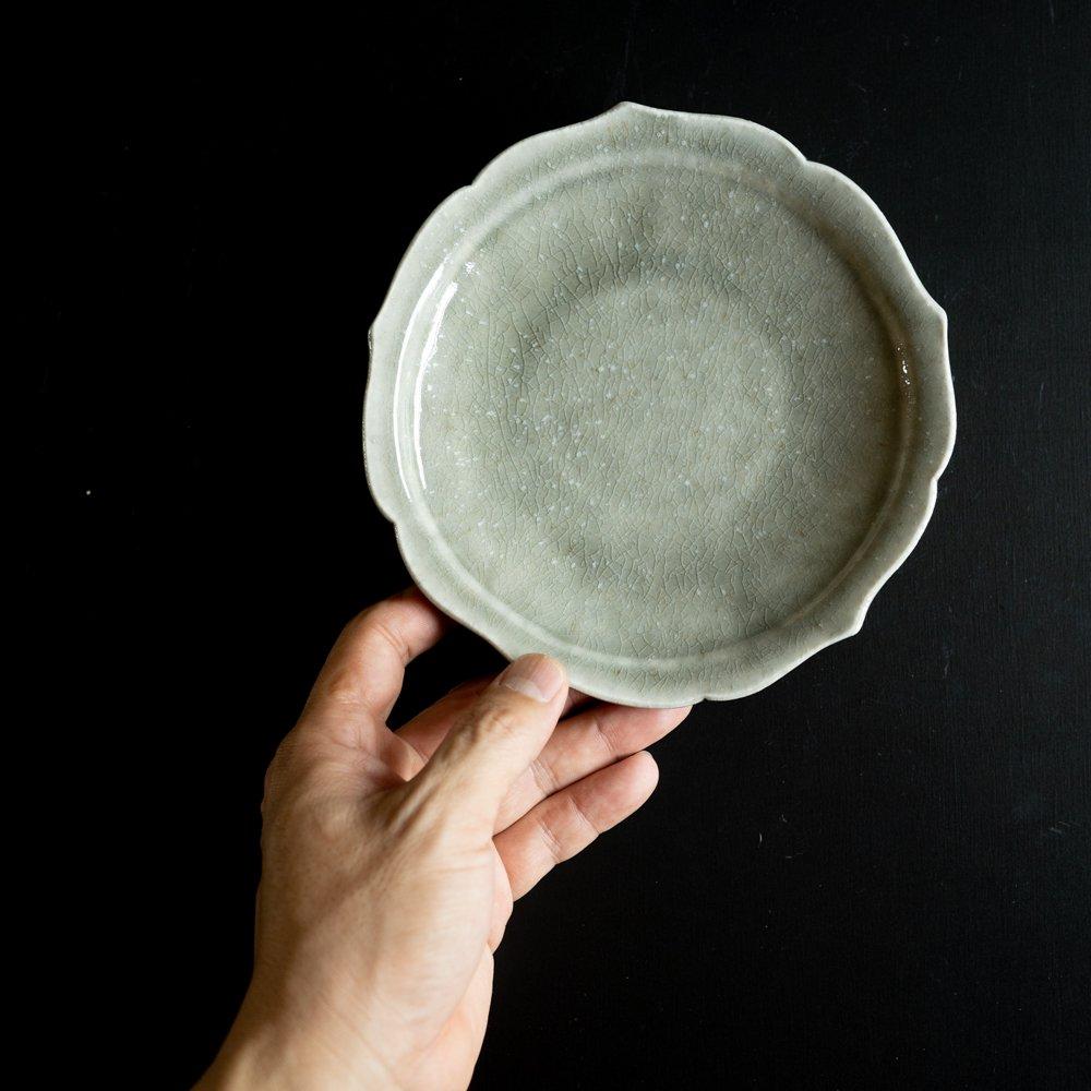 【2021年WEB個展】 広瀬佳子 6寸花皿  (霜降りグレー)  (ひ12a)
