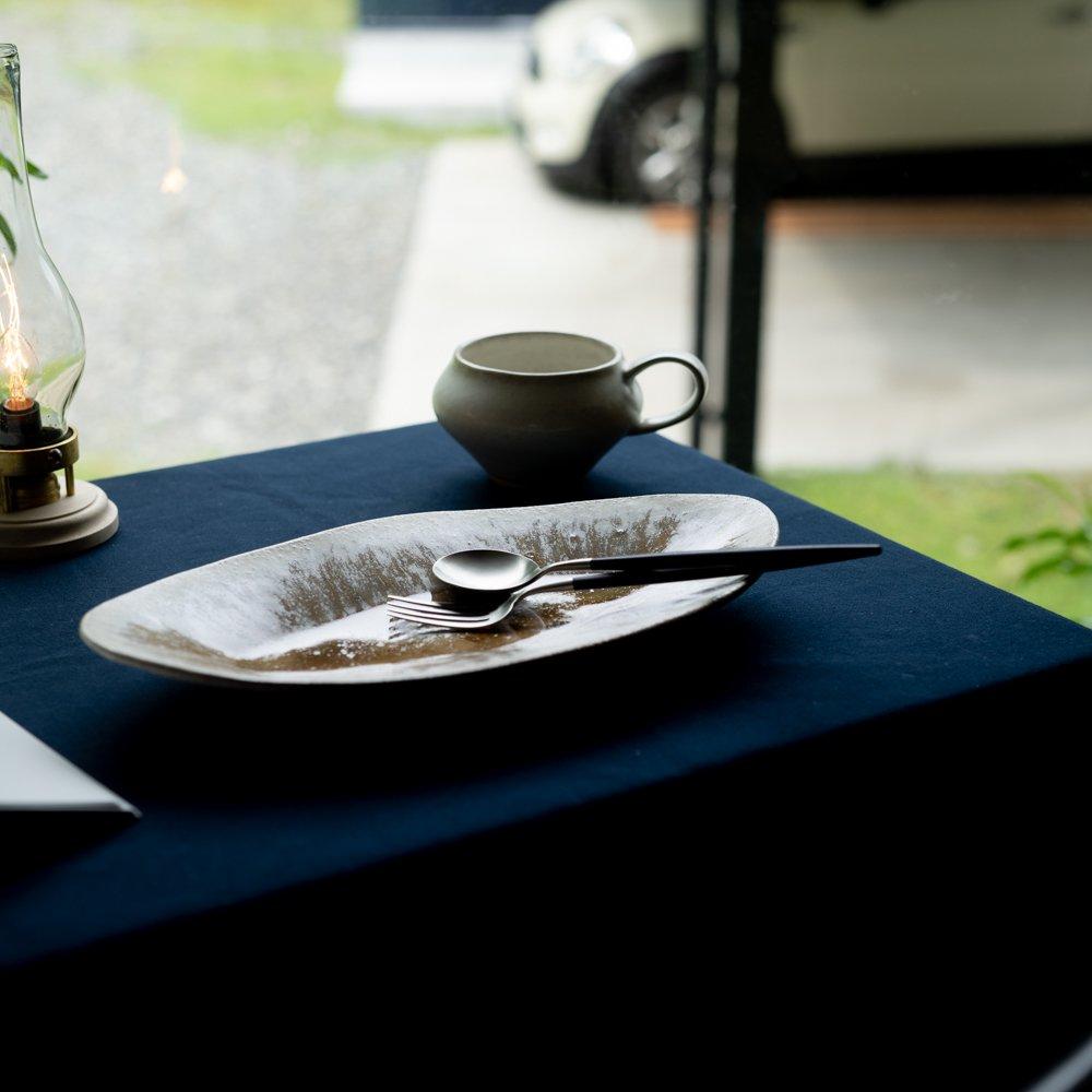 【2021年WEB個展】 広瀬佳子 ロングオーバルプレート  (白茶)  (ひ15a)