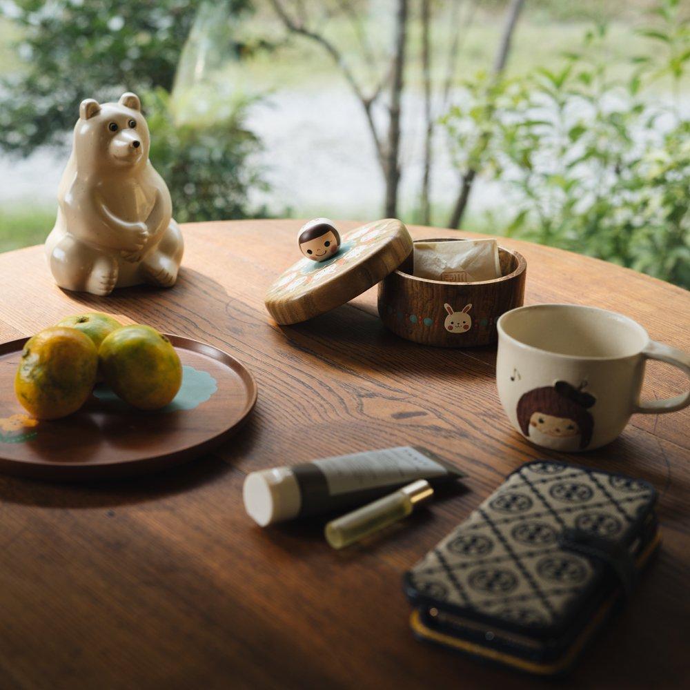 (2021年10月)木絵雑貨 菓子器(タモ) うさぎ き2