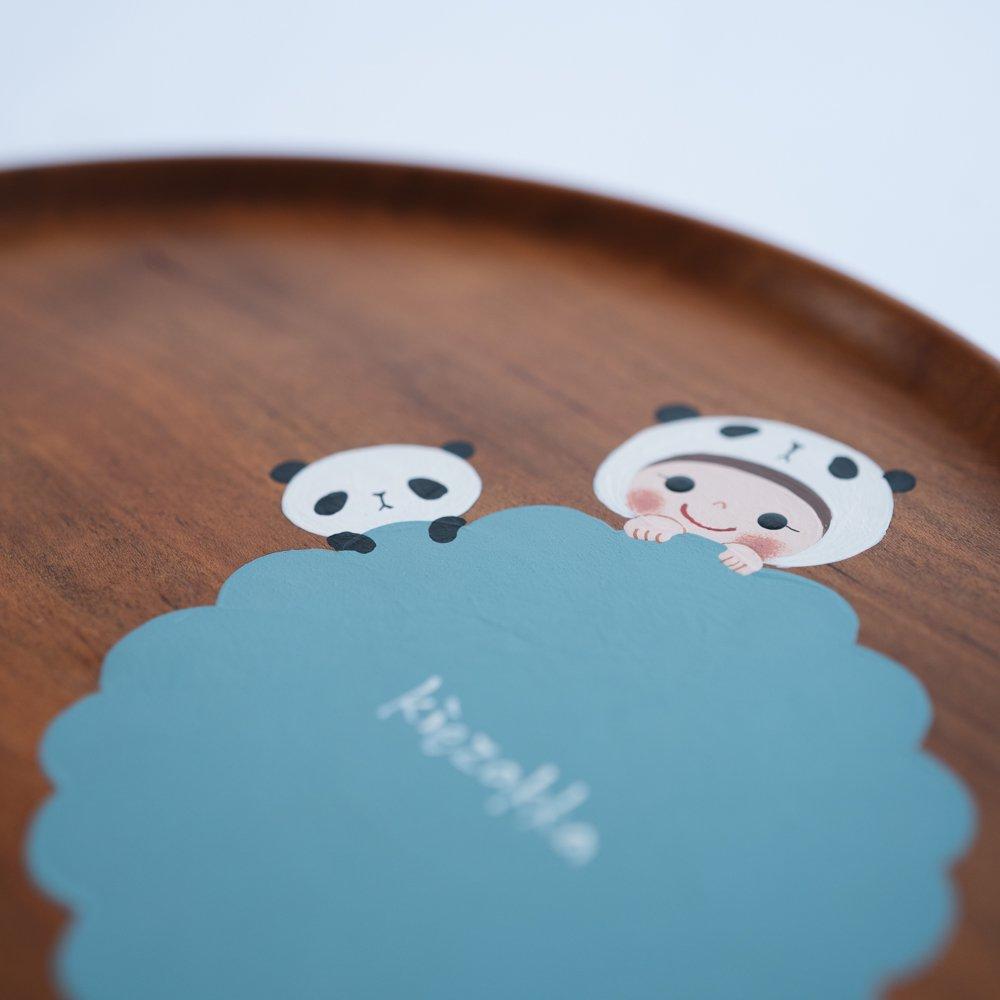 (2021年10月)木絵雑貨 お盆(サクラ) パンダ き5