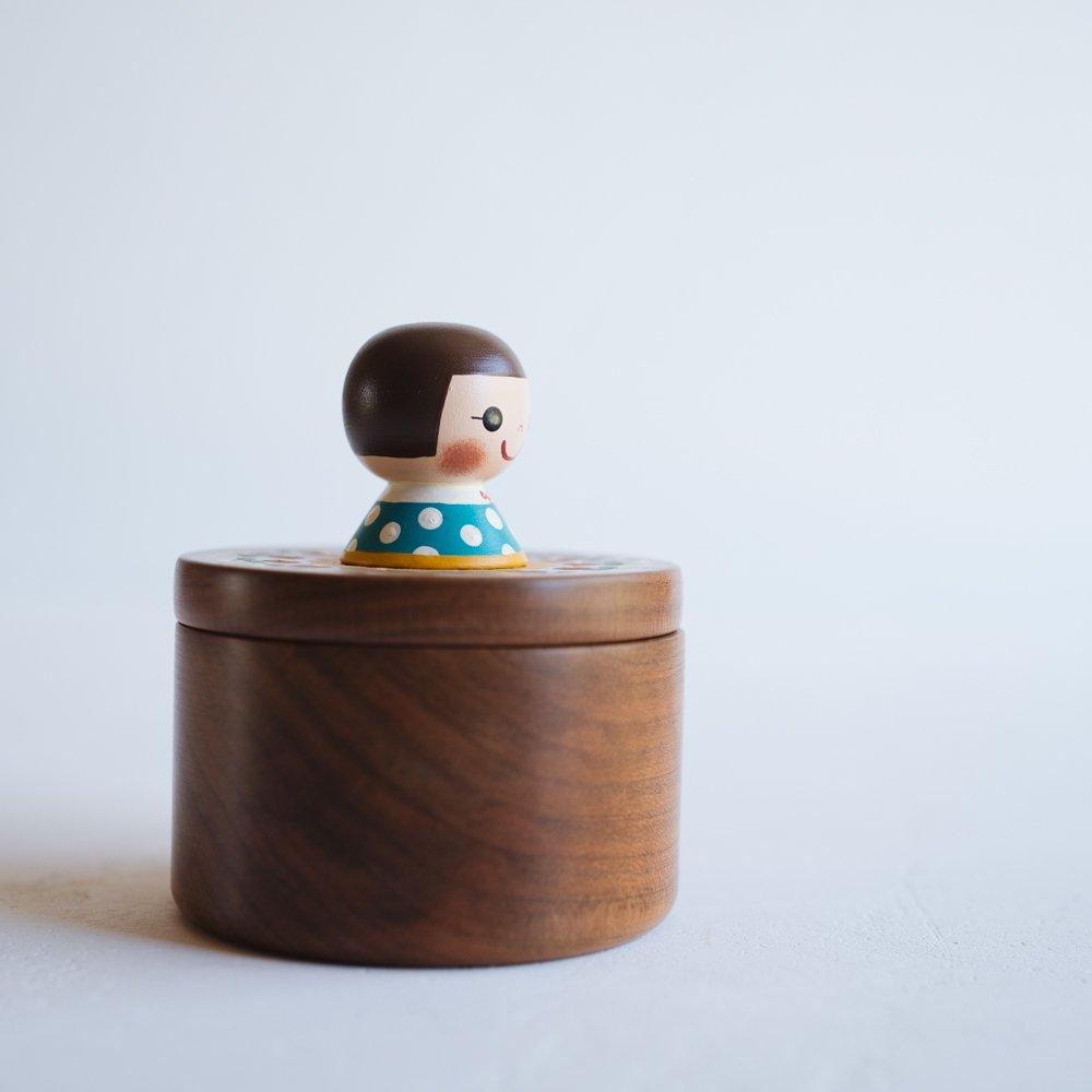 (2021年10月)木絵雑貨 宝石箱(サクラ) 水色 き7