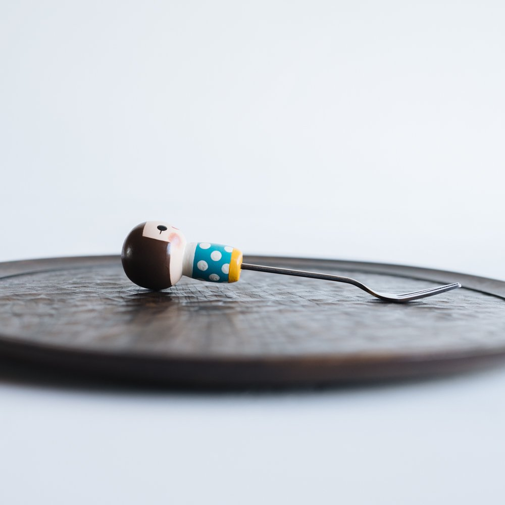 (2021年10月)木絵雑貨 カトラリー フォーク 水色 き14