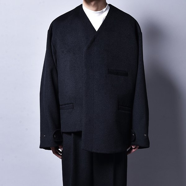 rin / Asymmetry Wool Jacket BK