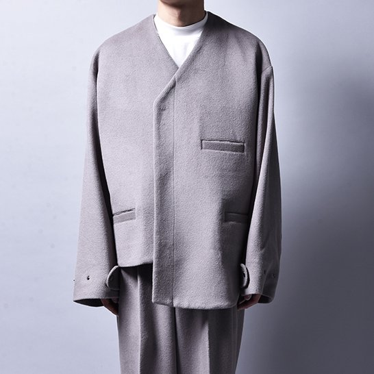 rin / Asymmetry Wool Jacket GREY