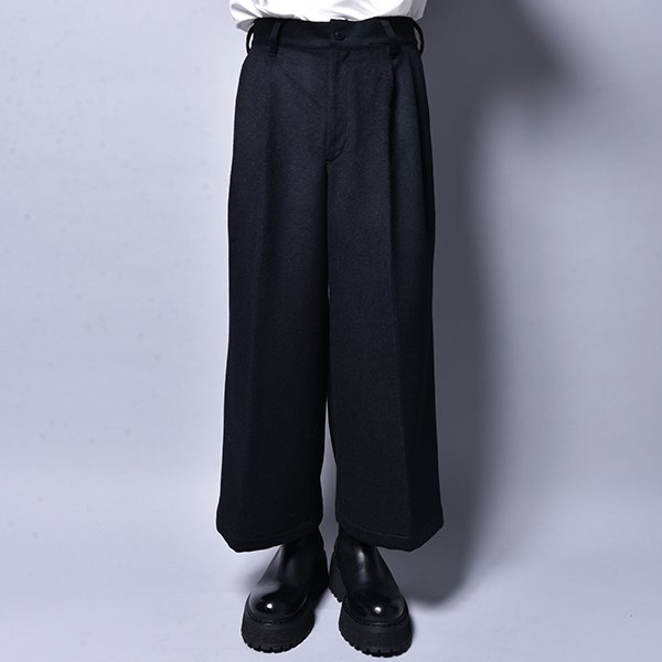 rin / Wide Wool Slacks Pants BK