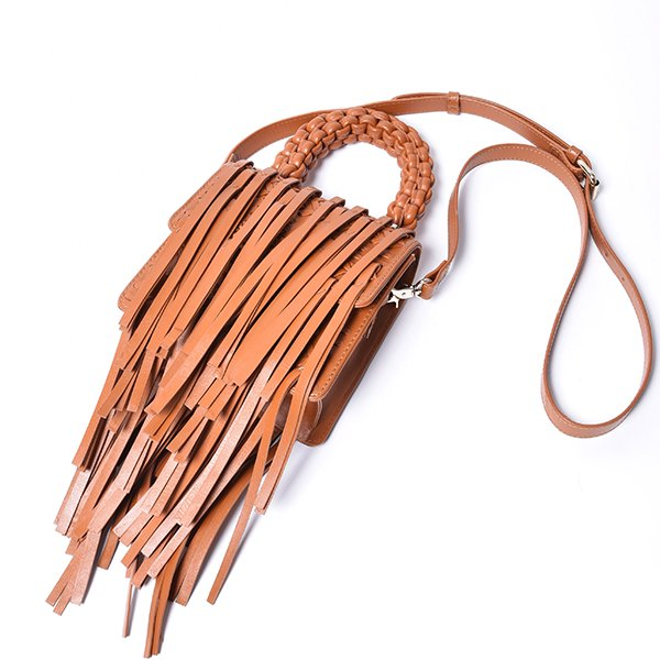 OBERKAMPF / LAMBALLE SMALL SHOULDER BAG FRINGE TAN