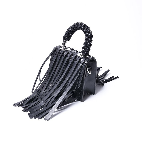 OBERKAMPF / LAMBALLE SMALL SHOULDER BAG FRINGE BK
