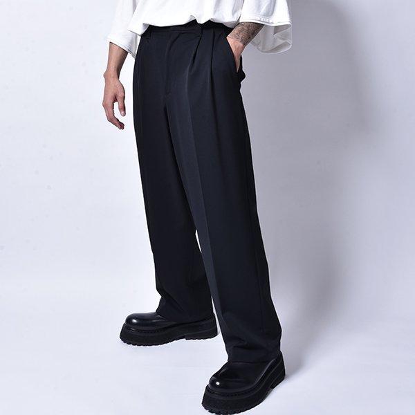 rin / Tuck Wide Slacks Pants BK